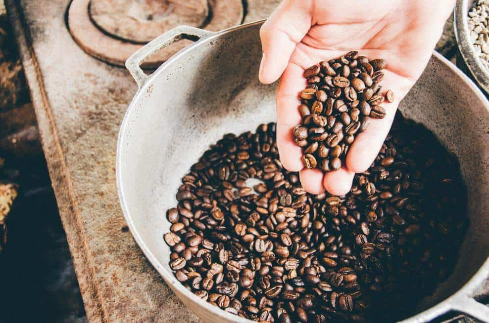 Freshly roasted coffee beans.