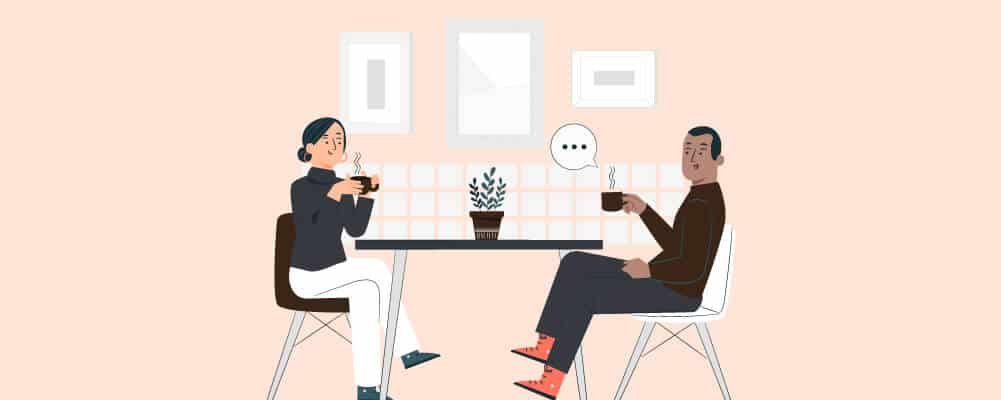 Man and woman discussing the benefits of coffee