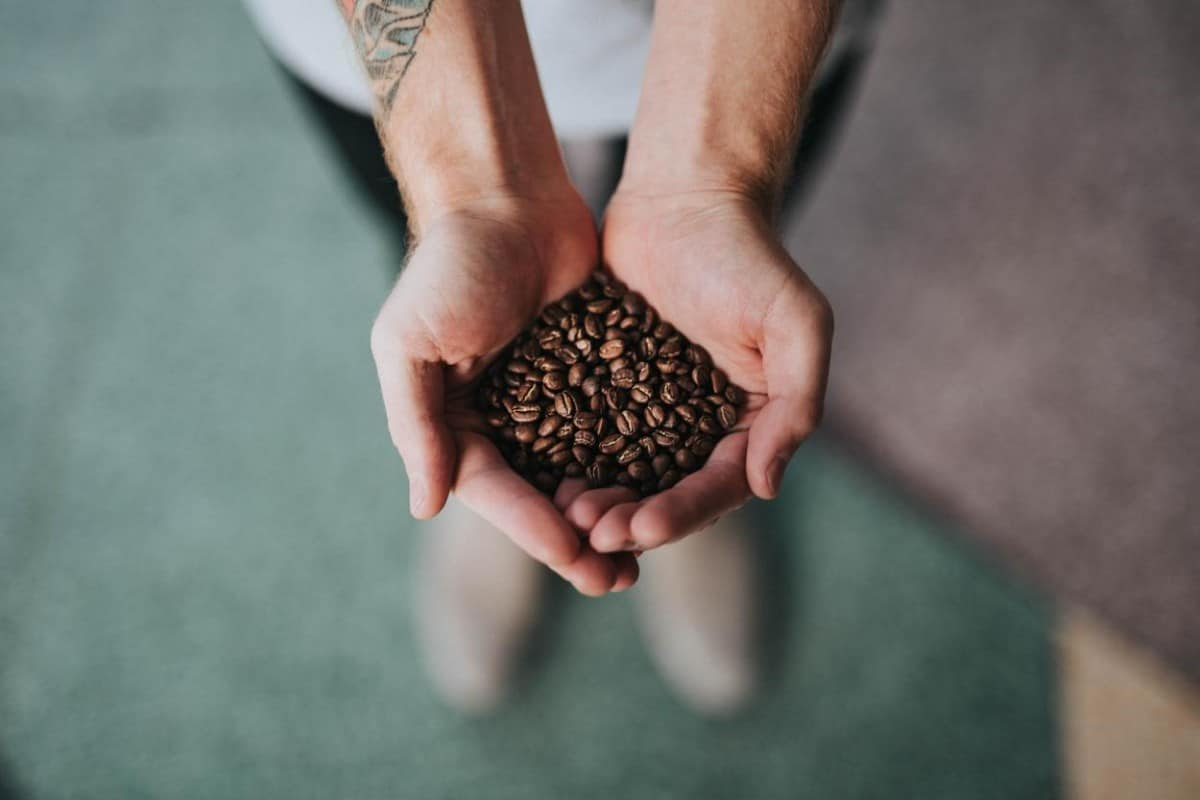A person with tattoo showing coffee beans.