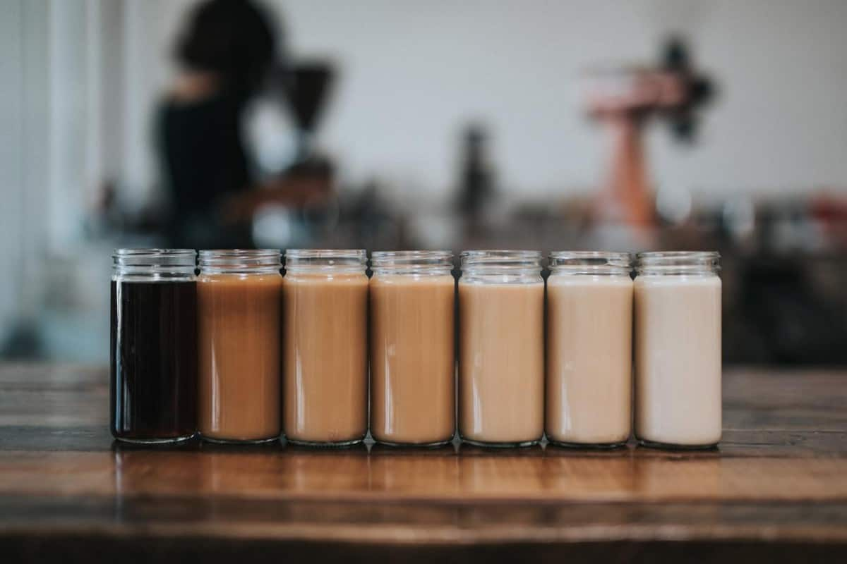 Coffee made as per the level of bitterness and are then poured on mason jars.