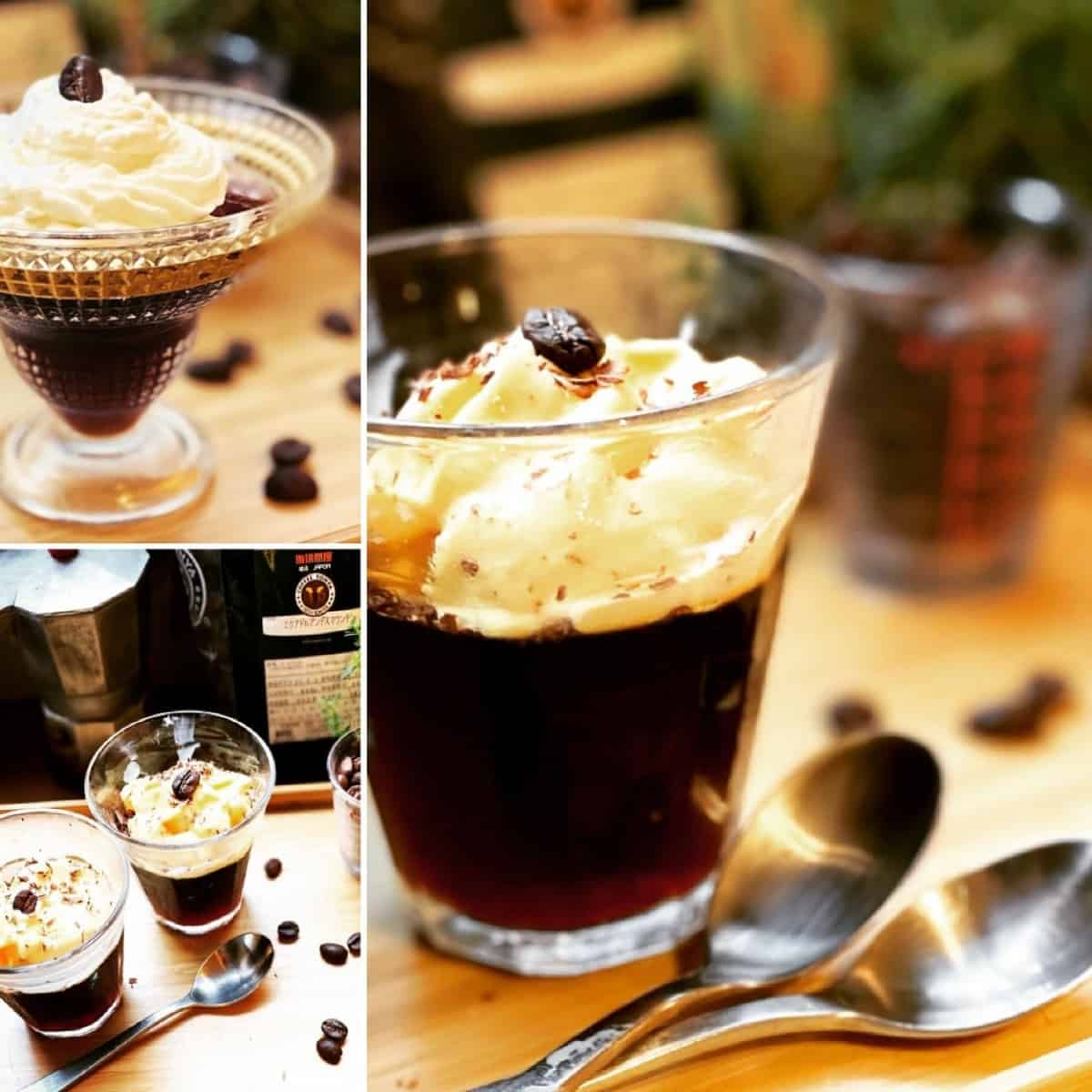 Coffee jelly dessert served in different dessert cups and along with whipped cream.