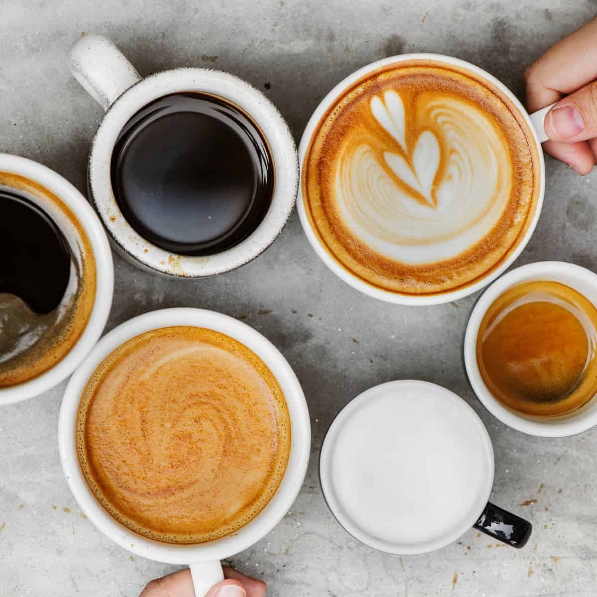 different types of coffee with milk in it