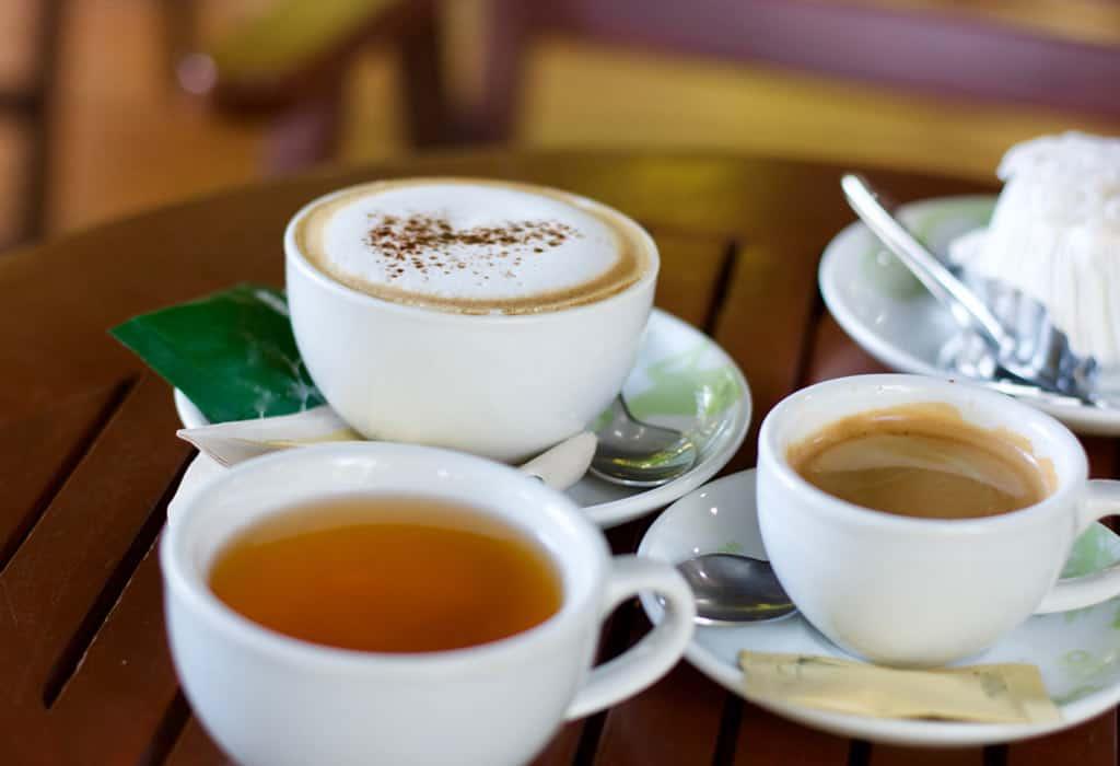 coffee and tea on tiny cups