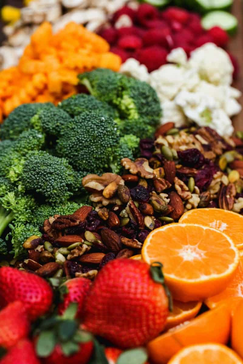 foods rich in vitamins like oranges, strawberries, walnuts, broccoli are kept together.
