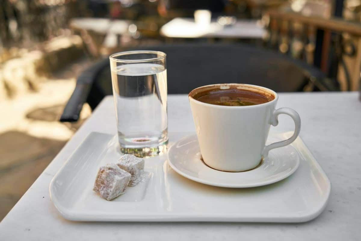 cup of coffee and a glass of water