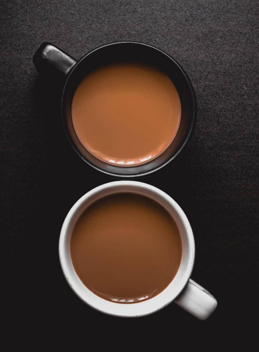 coffee in white and black mug