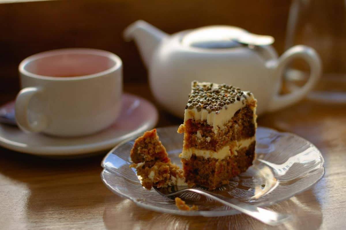 Coffee and a slice of cake.
