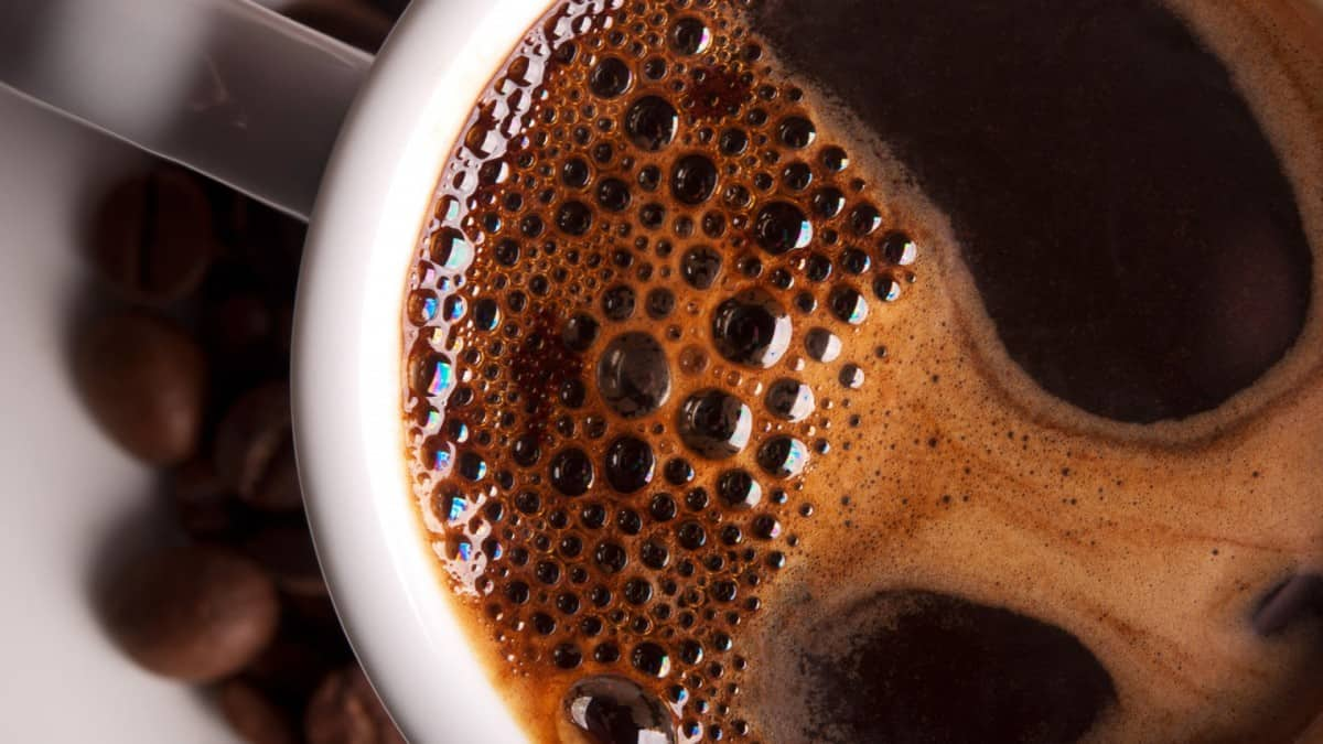 a close up picture of a cup of coffee