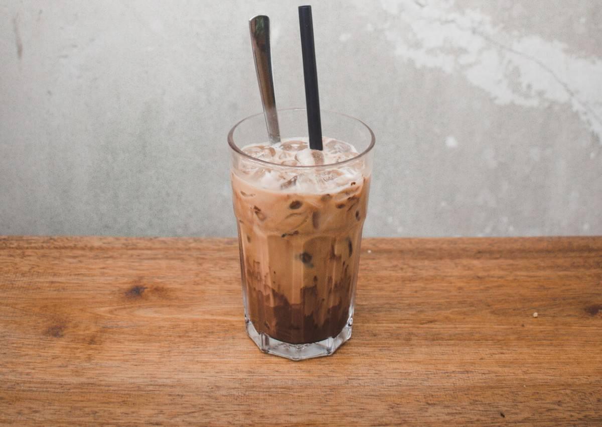 a glass of coffee milk