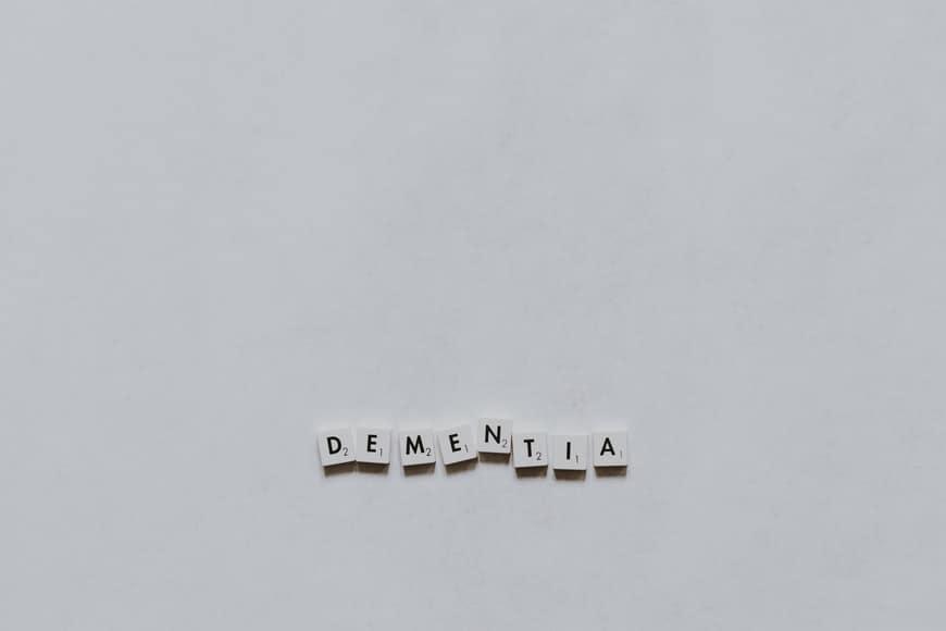 scrabble letters spelling out 'dementia'