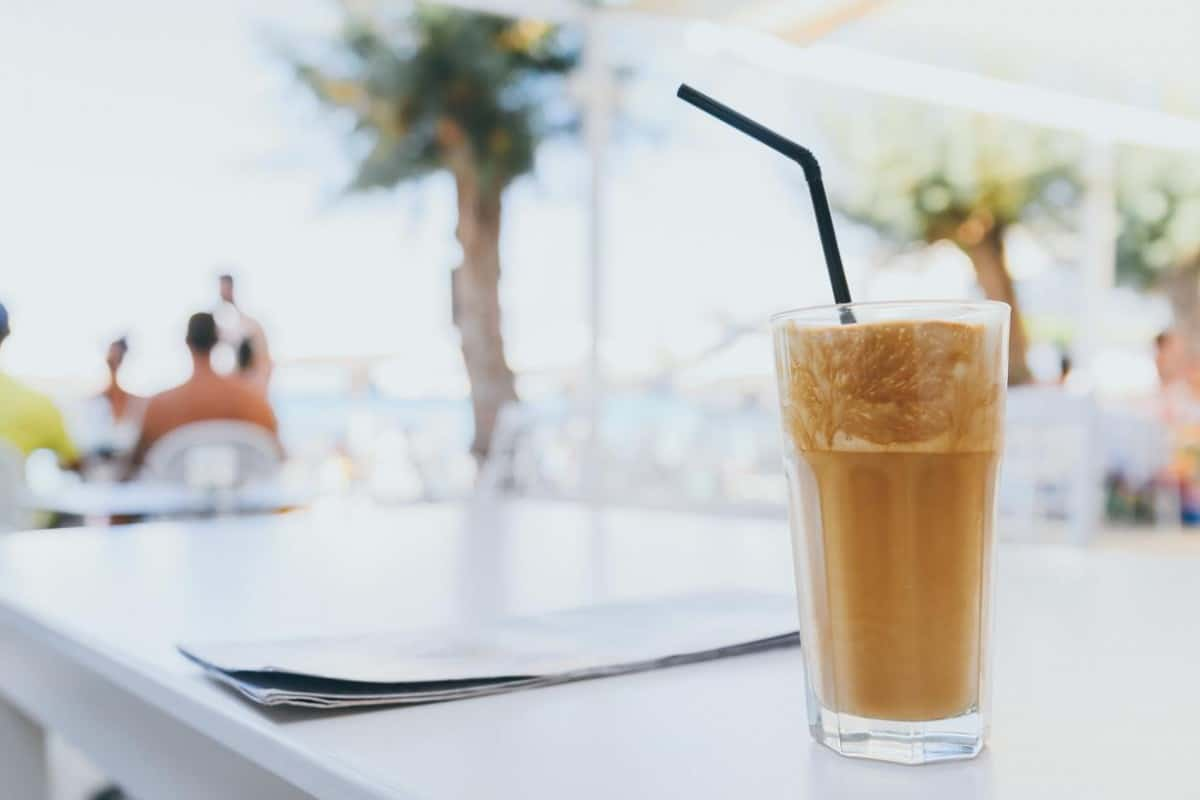 a glass of frappe