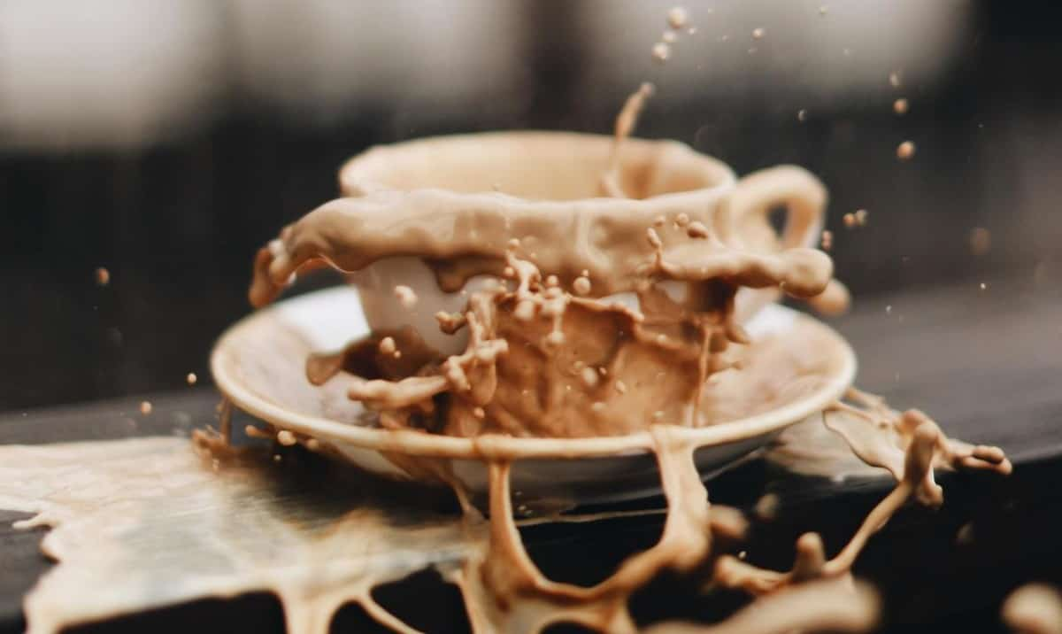 A messy explosion of coffee